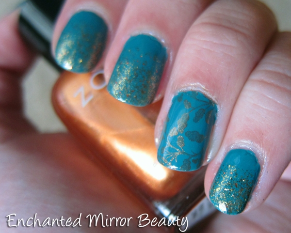 Teal Stamped Mani with Glitter