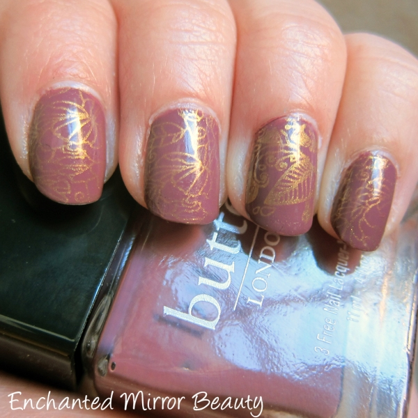 Stamped Mani: Butter London's Toff stamped with Konad Special Gold