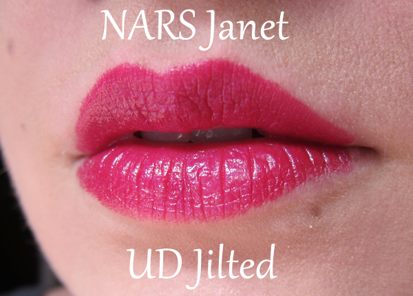 NARS Audacious Lipstick in Janet vs UD Jilted