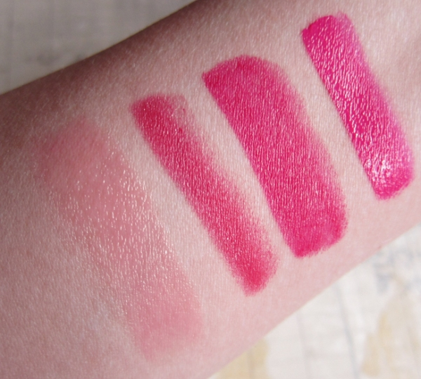 1. Benetint: PosieBalm. Tarte: Flush. 3. Bite Beauty: Palomino. 4. Too Faced: Melted Fuchsia.