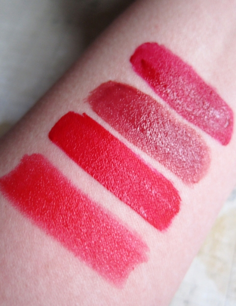 1. Laura Mercier - Red Armour. 2. KVD - Outlaw. 3. Sephora - Red Essence. 4. Hourglass - Icon.