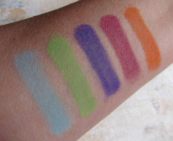 All shades swatched over bare skin, with 4+ passes of each color