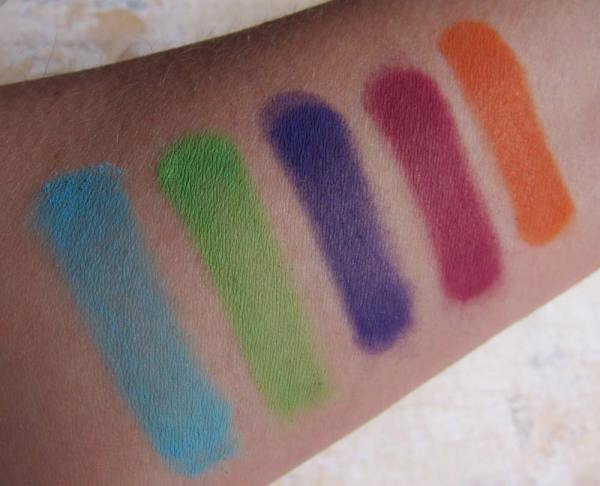 All shades swatched over primer, with 4+ passes of each color